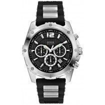 GUESS Multifunction Two Tone Stainless Steel and Rubber Strap W0366G1