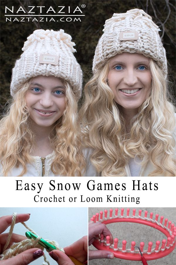 How to Crochet or Loom Knit Snow Games Hat - Easy Crocheted and Loom Knitting Hats by Donna Wolfe from Naztazia