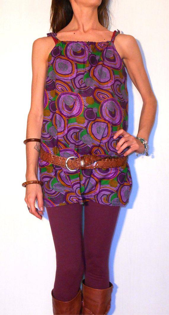 #Long #tank #top #blouse #small #medium #purple #cotton #fancy #pattern #printed #fabric #adjustable #easy #handmade #clothing #women #shirt #trending #fashion di #ITINLab