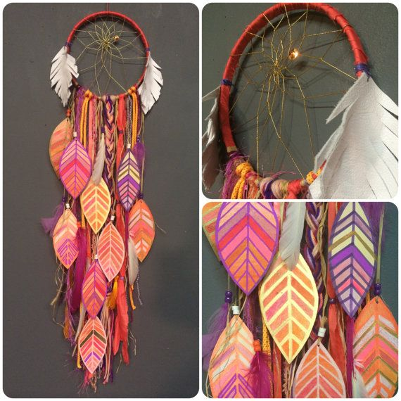 Coral Magic DreamCatcher with painted feathers and free shipping