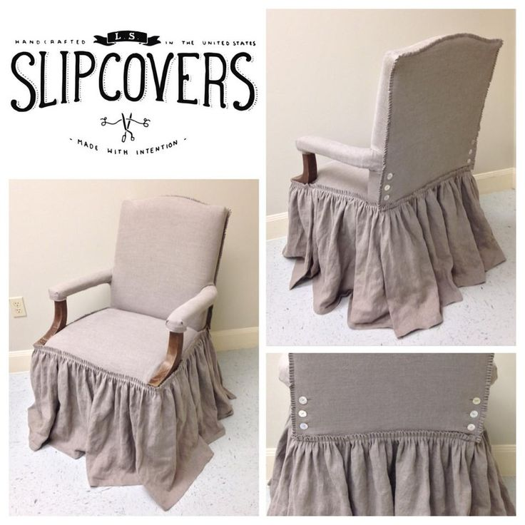 Exposed Top Ruffled Slipcover In Natural Tissue Flax Linen With Ruffled  Edging And Mother Of Pearl