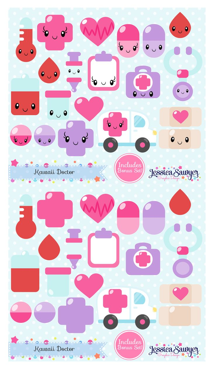 Kawaii Doctor Clipart for Planner Stickers, products, and crafts
