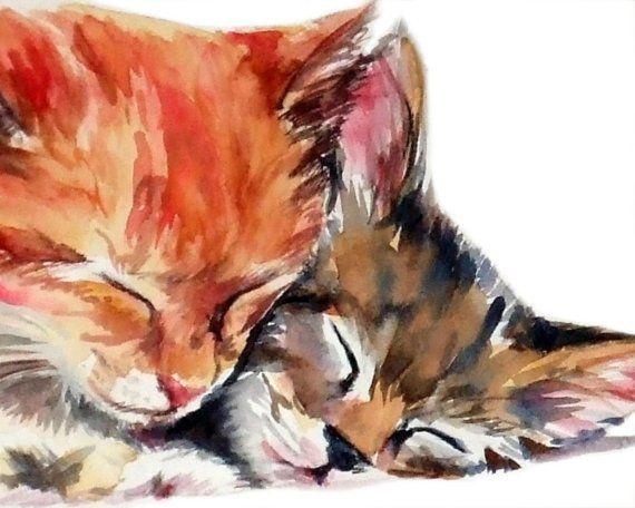 Estos adorables gatitos tienen la idea correcta - pan y amor que el mundo va  redondo. Giclee fine art impresión de mi pintura acuarela original.  ---------------------------- LAS ESPECIFICACIONES ----------------------------  TAMAÑO 8 x 10 pulgadas área impresa alrededor de 6 x 8 pulgadas  PAPEL Papel de acuarela obras de arte.  ------------------------ la letra pequeña ------------------------  Como con las ilustraciones más originales, el autor de esta pieza siempre permanece conmigo, el…