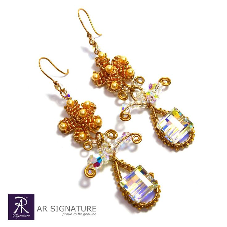 www.arsignature.com  Fully handmade earring using genuine Swarovski Crystal