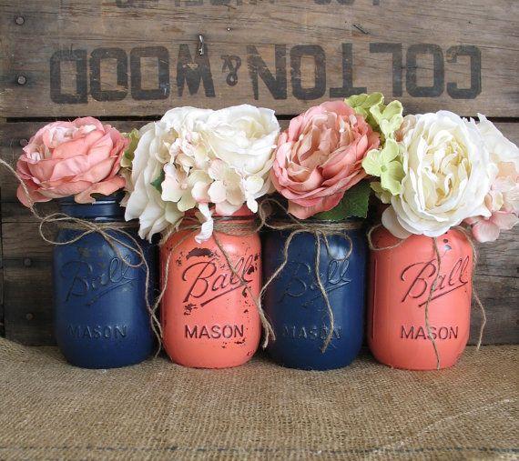 Mason Jars, Ball jars, Painted Mason Jars, Flower Vases, Rustic Wedding Centerpieces, Navy Blue And Dark Coral Mason Jars on Etsy, $32.00