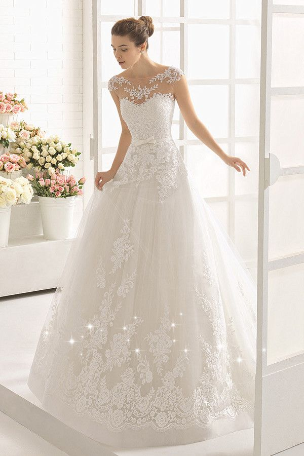 Modest Tulle Bateau Neckline A-line Wedding Dress With Lace Appliques & Belt