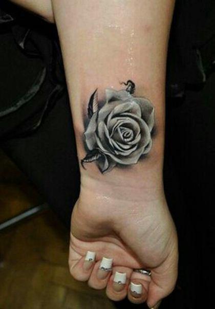 ac8295800b7aa white rose tattoo Pretty Flower Tattoos, Flower Tattoos On Wrist, White  Flower Tattoos,