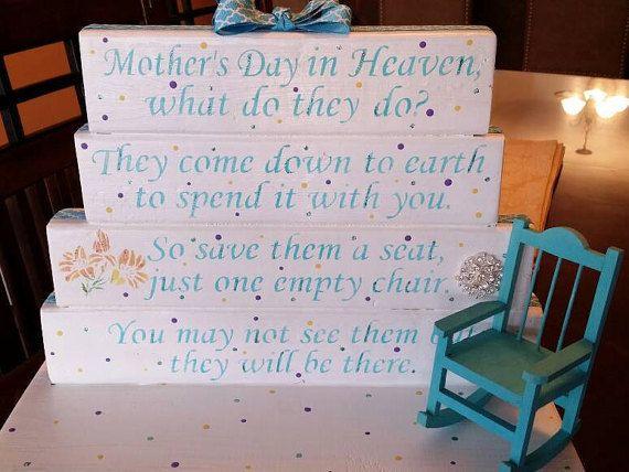 Mothers Day in Heaven poem table top display handmade memorial decor