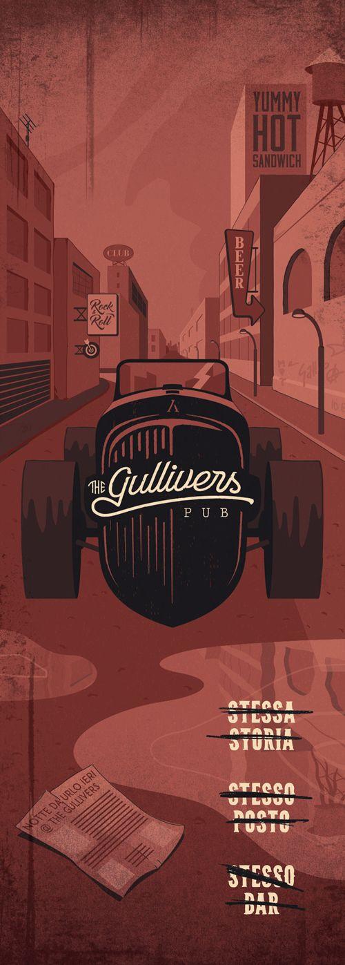 Flyer The Gullivers Pub | www.ofmagnet.com #illustration #digital #graphic #design #pub