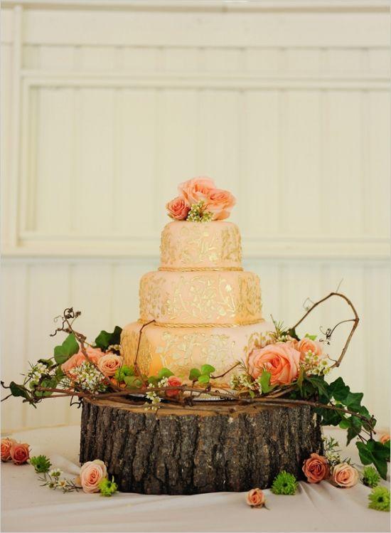 gold and peach wedding cake