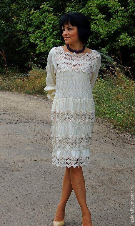 Купить Платье цвета шампань в стиле БОХО - платье с кружевом, Платье нарядное, платье повседневное