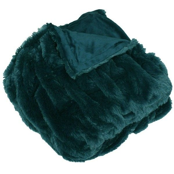 Teal Josephine Faux Fur Throw Blanket ($45) ❤ liked on Polyvore featuring home, bed & bath, bedding, blankets, etc, filler, teal blue throw blanket, faux fur throw, faux fur blanket and teal green bedding