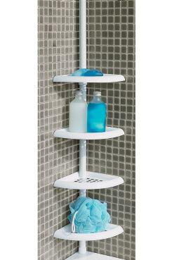 LIS hörnhylla Reglerbar stång och fyra flyttbara hyllor. Sätts mellan badkarskant och tak, eller från golv till tak. Passar även i duschkabin. Maxmått i höjd 269 cm. Hyllmått 19 cm från väggen.