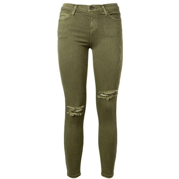 Current/Elliott The Stiletto Destroyed Khaki Stretch Jeans found on Polyvore featuring jeans, pants, bottoms, calças, super stretch jeans, frayed hem jeans, destruction jeans, green jeans and stretch jeans