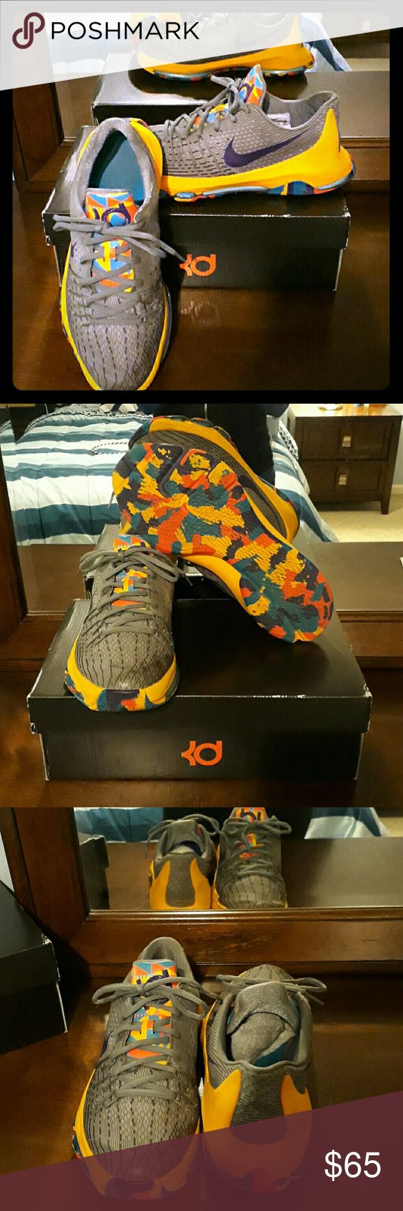 KD 8- Kevin Durant- Size 7 with Box KD8 rare color way. Prince George. Gently used. Minor fraying but fixed by shoe repair person. Nike Shoes Sneakers