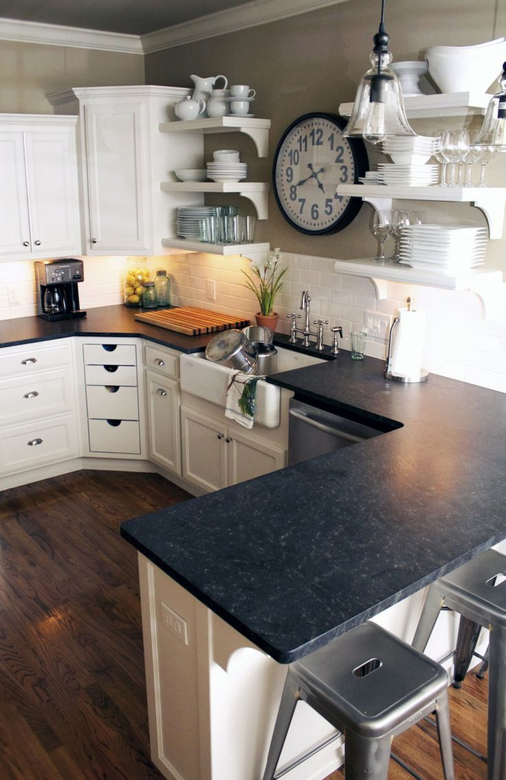 Kitchen!!! Love black granite counter tops, white subway tile backsplash and white cabinets! Oh and sink too!!!: