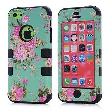 3 in 1 hybride elegante penoy bloempatroon harde zachte siliconen achterkant van de behuizing dekking geschikt voor iPhone 5c (verschillende kleuren) – EUR € 6.71