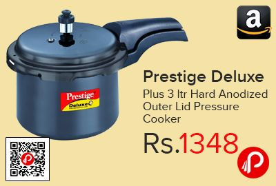 Amazon #LightningDeal is offering 32% off on Prestige Deluxe Plus 3 ltr Hard Anodized Outer Lid Pressure Cooker at Rs.1348 Only. Pressure indicator, Induction bottom, Precision weight valve, Controlled GRS, Comfortable handles, Heavier body, Induction and gas compatible.  http://www.paisebachaoindia.com/prestige-deluxe-plus-3-ltr-hard-anodized-outer-lid-pressure-cooker-at-rs-1348-only-amazon/