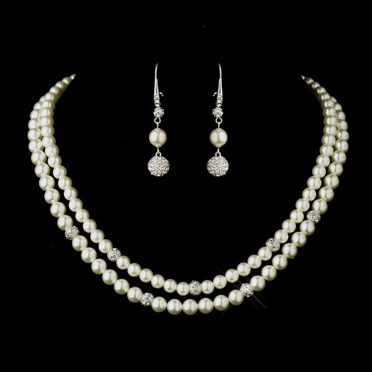 Classically elegant! Double Strand Diamond White Pearl Wedding Jewelry Set - Affordable Elegance Bridal -