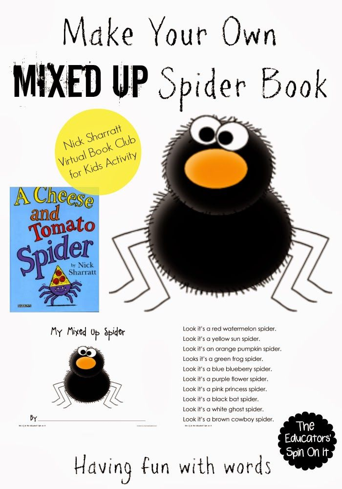 Make your Own Mixed Up Spider Book with free printable for Kids. Inspired by the book A Cheese and a Tomato Spider by author Nick Sharratt