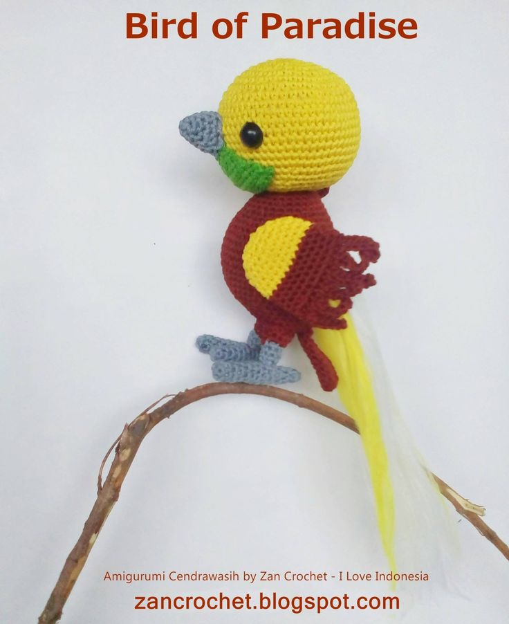 Look at what I found on Freubelweb: a free pattern by Zan crochet to make this beautiful Bird of Paradise https://www.freubelweb.nl/freubel-zelf/gratis-haakpatroon-paradijsvogel/