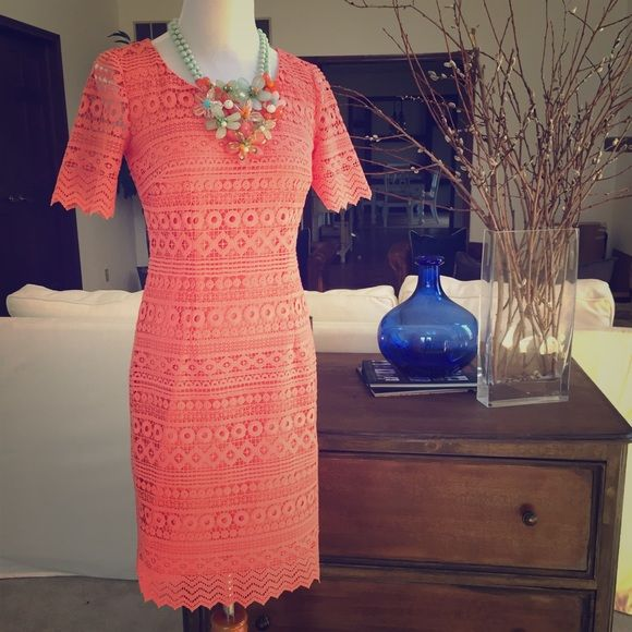Antonio Melani Crochet Lace Dress Beautiful Antonio Melani lace overlay dress in a peach tone. Brand new with tags! The second photo best shows the color. No trades, reasonable offers welcome via offer tool ANTONIO MELANI Dresses
