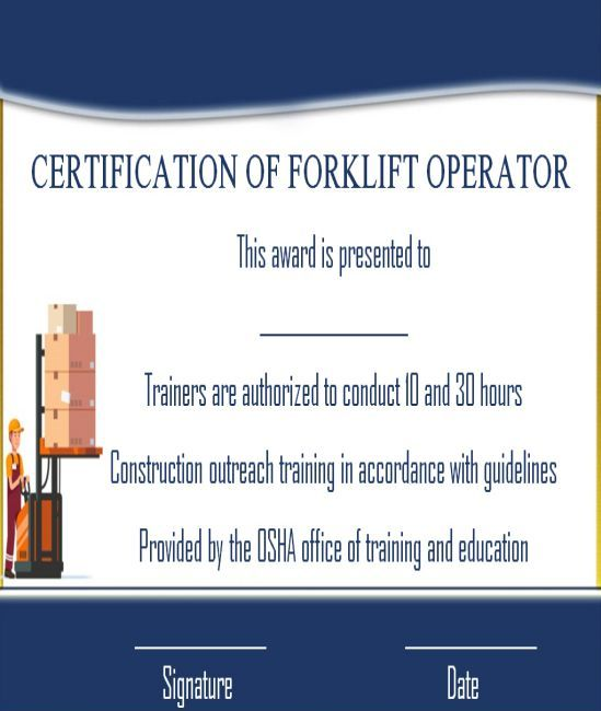 15 Forklift Certification Card Template For Training Providers