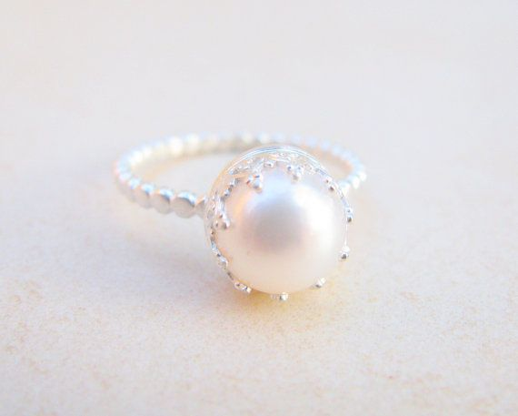 Pearl ring engagement ring silver ring pearl wedding for Pearl engagement ring with wedding band