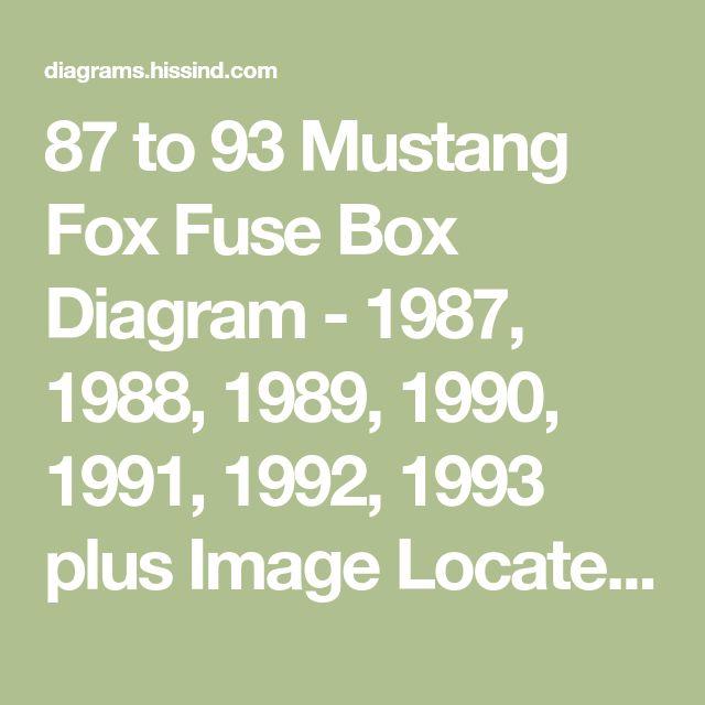 87 To 93 Mustang Fox Fuse Box Diagram