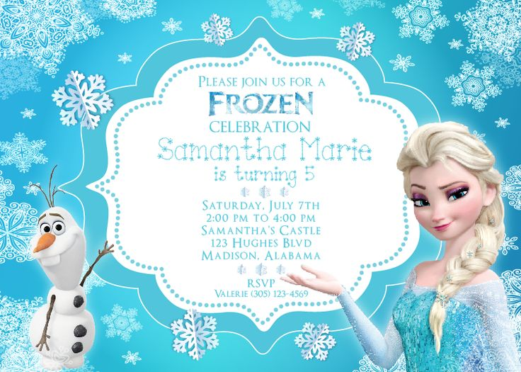 Frozen Invitation with Elsa and Olaf  http://www.thewhiteeg.com/product/frozen-theme-personalized-invitation-printable-pdf-or-jpg