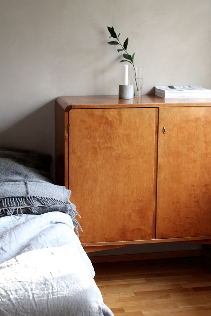 bedroom: minimal, mid century retro cabinet, greenery