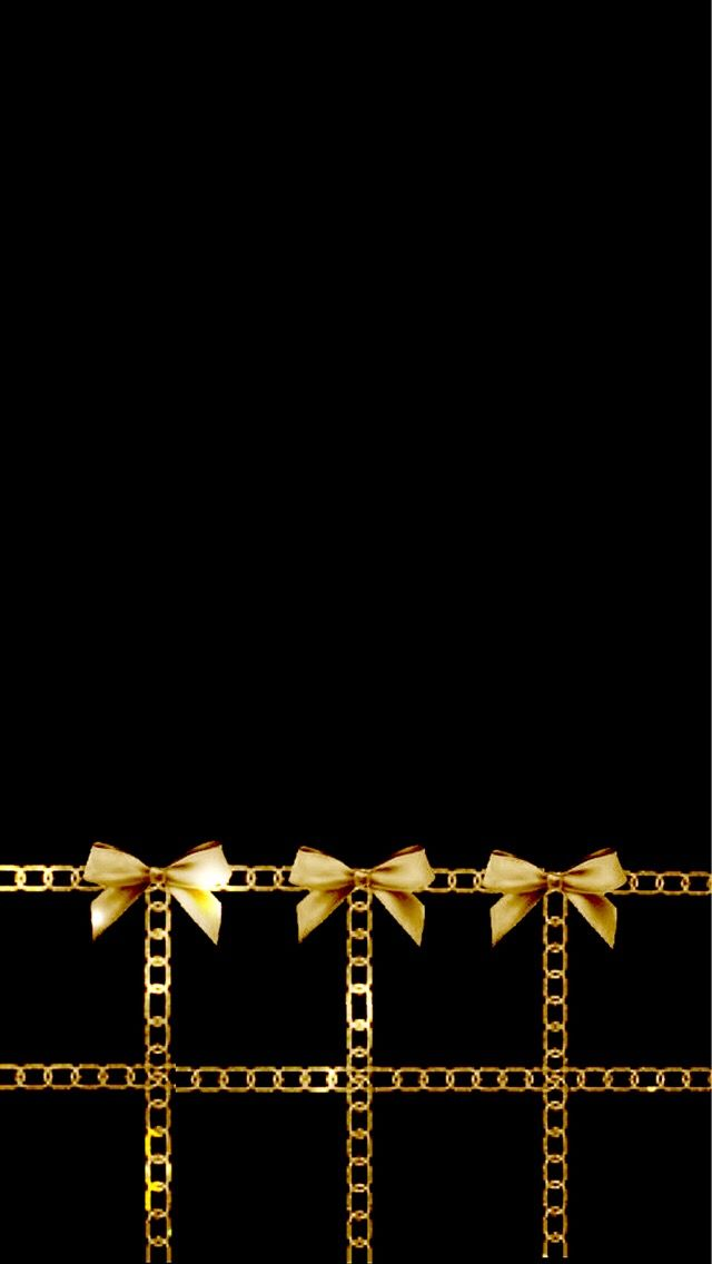 Gold Bows On Black Backgrounds Wallpapers Pinterest