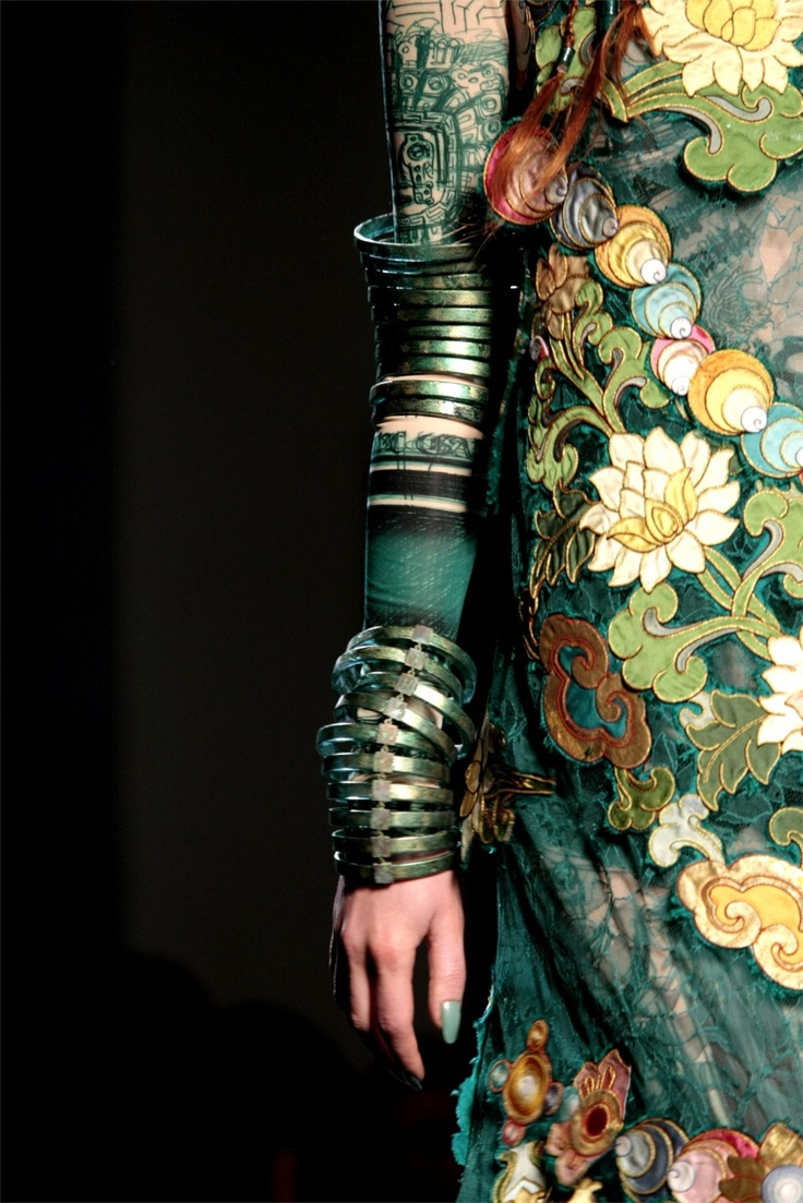 Jean Paul Gaultier, Haute Couture ~ *Deep water greens* *Ancient toned metallics* *Twining flora* *Ophelia*