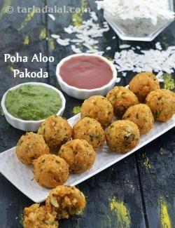 Poha Aloo Pakoda Quick Evening Snack Recipe In 2019 Creative