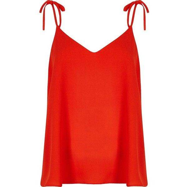 River Island Red bow shoulder cami top ($19) ❤ liked on Polyvore featuring tops, red, strappy top, cami top, v-neck top, red v neck top and tall tops