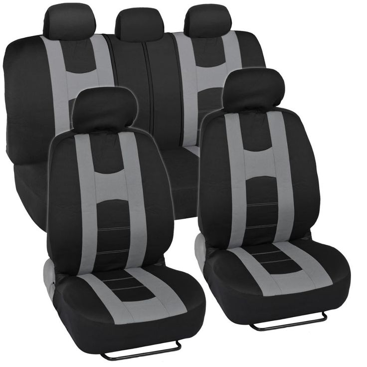 Rome Sport Seat Covers for Car SUV - Sporty Racing Style Stripes Black & Gray
