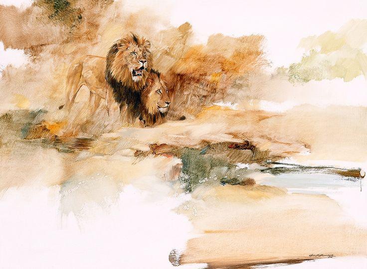Lion Brothers – Geoff Hunter Wildlife Art   Geoff Hunter Wildlife Art