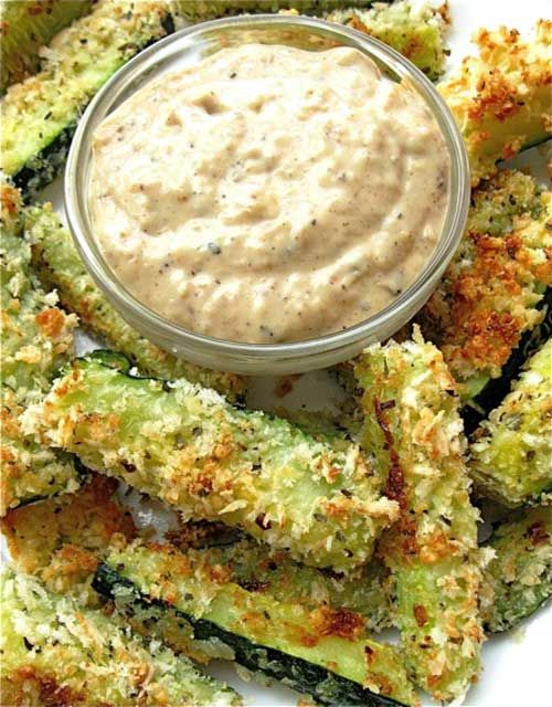 Recipe for Baked Zucchini Sticks and Sweet Onion Dip - Here's a guilt-free way to enjoy the crunchy outside (and juicy inside) of a restaurant-style zucchini stick.