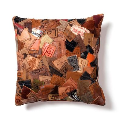 dwell - Patchwork recycled jeans leather cushion - £49