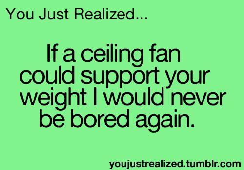 You just realized ... If a ceiling fan could support your weight I would never be bored again