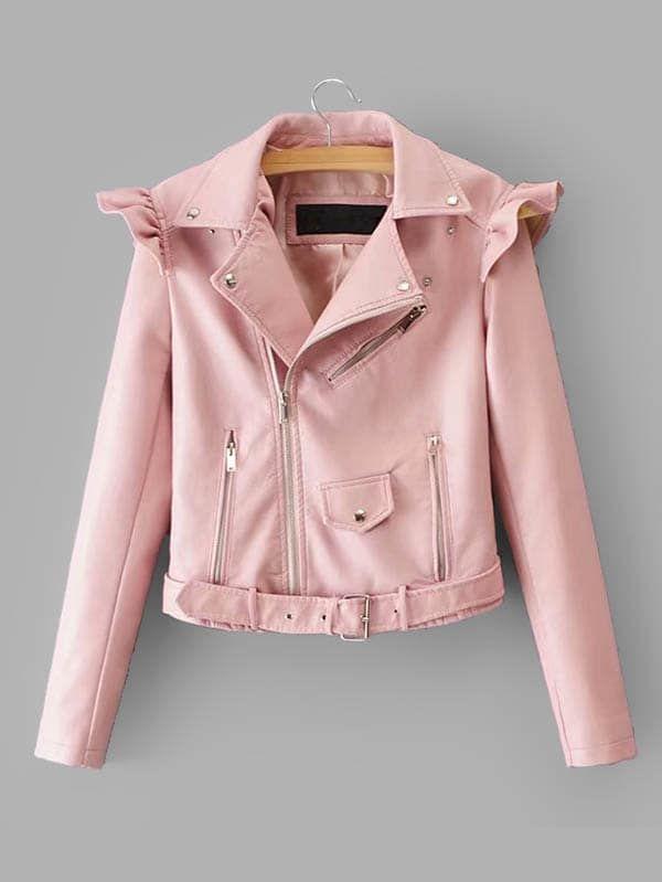 Colour Faux Leather Jacket