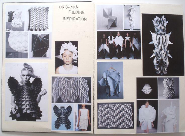 Fashion Sketchbook - 3D origami fashion design development - visual research pages; creative process; fashion design portfolio // Rosa Kramer