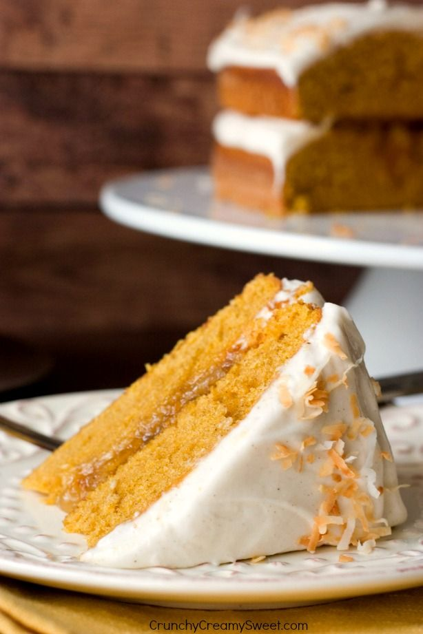 Pumpkin Layer Cake with Orange Ginger Filling and Cinnamon Cream Cheese Frosting - and incredibly easy and absolutely delicious cake for the fall gatherings and holidays!