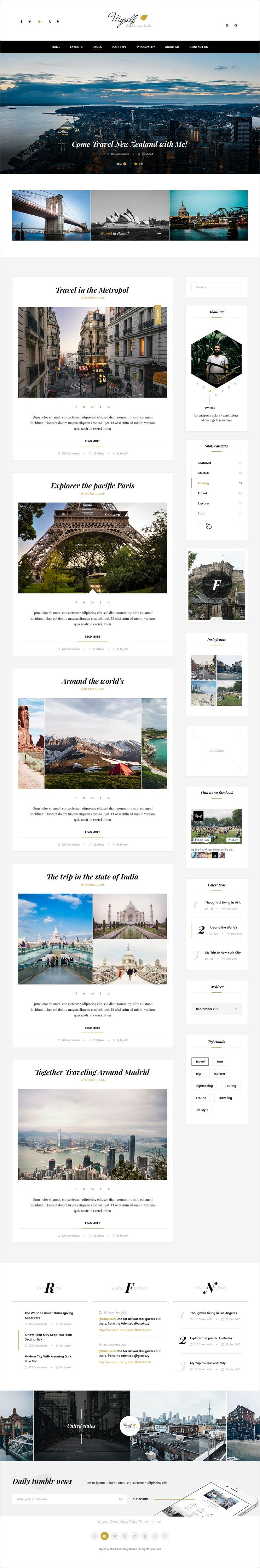 Myself is a perfect #PSD #blogger #template that can be used for Traveling blogger & City touring guide website download now➩ https://themeforest.net/item/my-self-multi-concept-blog-travel-city-psd-templates/18933227?ref=Datasata