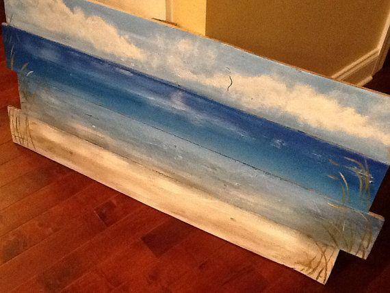 Ocean beach scape pallet art by SoulSisterPalletShop on Etsy, $50.00