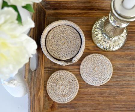 Homewares & Home Decor Online-Round Rattan Coasters - Whitewash