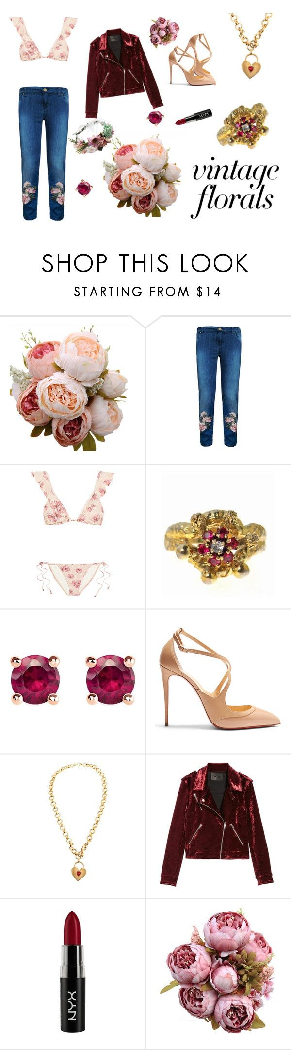 """""""young vintage fresh"""" by raestyles ❤ liked on Polyvore featuring MPJ, Eberjey, Thomas Sabo, Christian Louboutin, Chanel, BLANKNYC, NYX, vintage and vintageflorals"""