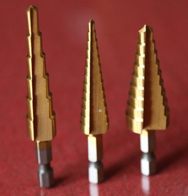 3pcs HEX shank 3-12mm,4-12mm,4-20mm HSS Step Drill Bit Set core drill bit TIN Coated cone Step Drill Bit Set hole cutter