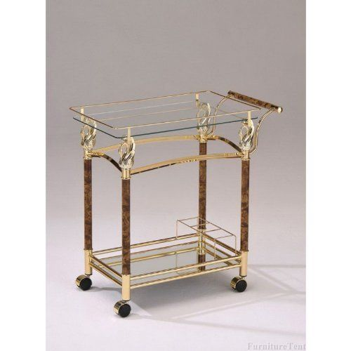 """Mace golden brass plated metal finish and burl wood design tempered glass shelves tea serving cart with casters. Measures 29"""" x 16"""" x 31"""" H. Some assembly required. [Quality]Organic, Whole Food PLR (Org-OTO2) High quality PLR pack with Organic Meat ebook, and healthy eating, whole... more details available at https://furniture.bestselleroutlets.com/game-recreation-room-furniture/home-bar-furniture/bar-serving-carts/product-review-for-mace-golden-brass-plated-me"""