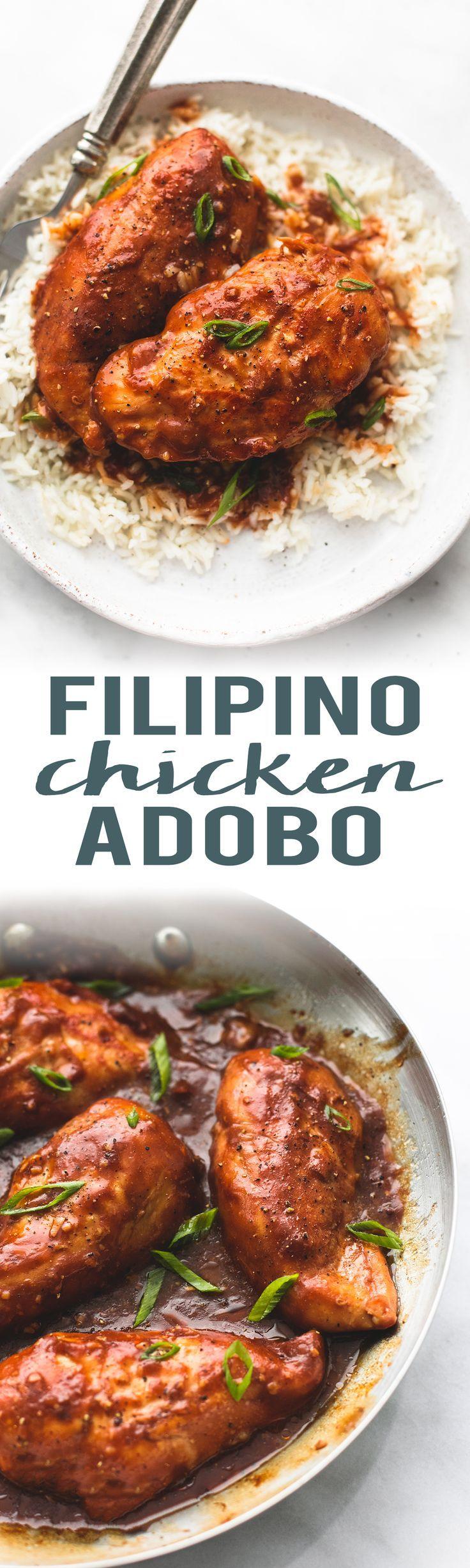 Easy homemade Filipino Chicken Adobo | http://lecremedelacrumb.com